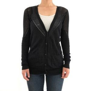 JOIE black cardigan with mesh detail